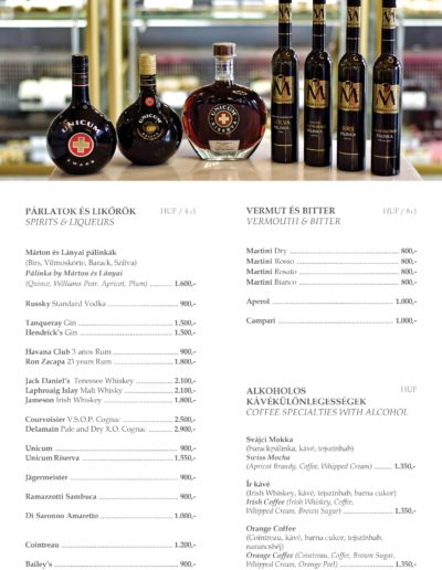 10 – Sprits, vermouth coffee specialities