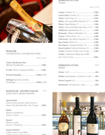 9 – Champagne, coctails, wine, beers